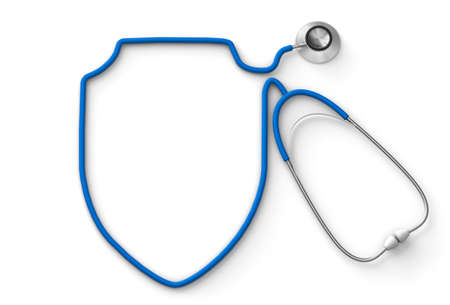 Shield shaped stethoscope, medical insurance. isolated on white background. 3d render