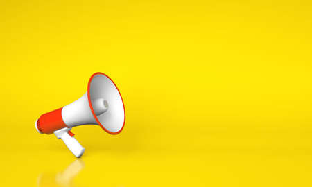 Red megaphone loudspeaker on a yellow background. Copy space for text. 3d render
