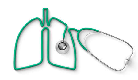 Green stethoscope in the form of a lung isolated on white background. 3d render Stockfoto - 164779371