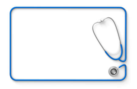 Stethoscope in the form of a rectangular frame, template for a message isolated on a white background. 3d render