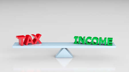 Scales with the words TAX and INCOME on a gray background. 3d render
