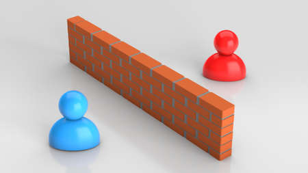 Wall between and people on grey. 3d render Stockfoto - 164532158