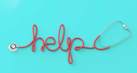 Word HELP from red stethoscope on green background. 3d render