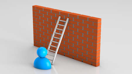 Overcome wall obstacles using a ladder. 3d render