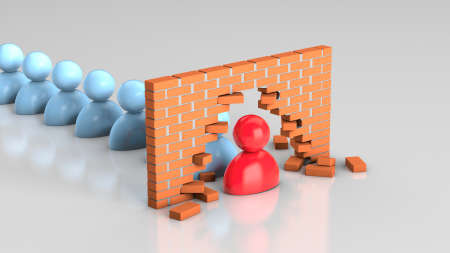 The leader broke the wall. The leader solves problems and leads the team towards the goal. 3d render Фото со стока