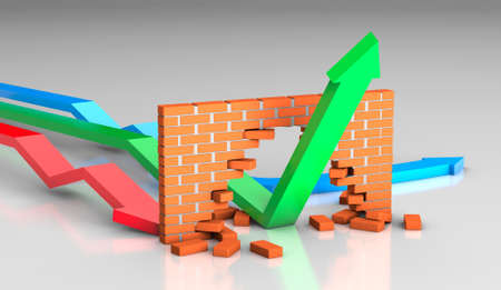 The arrow breaks the brick wall. The concept of competition and growth during the crisis. 3d render