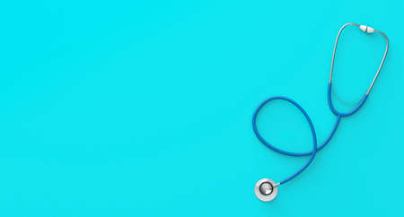 Blue stethoscope on a green background. Copy space for text. 3d render