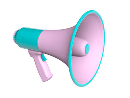 Pink with green megaphone loudspeaker. isolated on white background. 3d render Stockfoto - 164691681