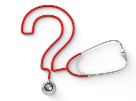 Stethoscope in the form of a question mark isolated on a white background. 3d render