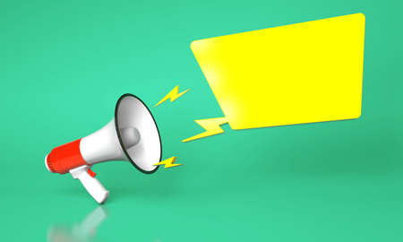 Red megaphone loudspeaker and yellow bubble on a green background. template blank. 3d render Stockfoto - 164691717