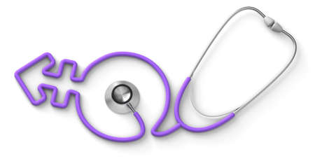 Stethoscope in the form of a transgender gender symbol, gender reassignment surgery. isolated on white background. 3d render Фото со стока