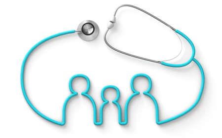Family shaped stethoscope, medical family insurance isolated on white background. 3d render Stockfoto - 164691358