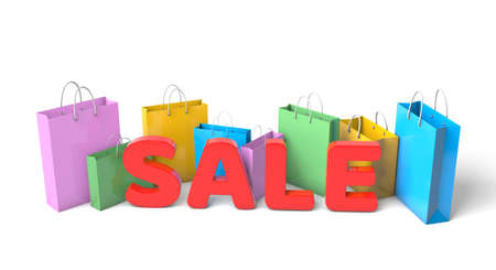Word SALE and paper bags for shopping. isolated on white background. 3d render Фото со стока