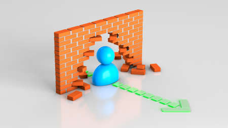 The path to the goal through obstacles. Businessman leader smashed brick wall on the way to target. 3d render