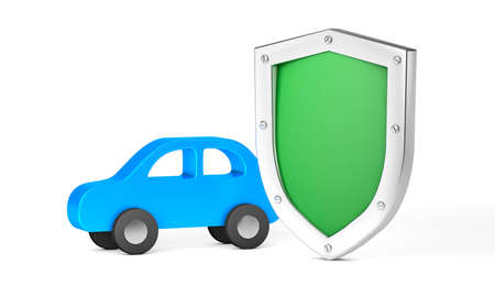 Car protection. Green shield and car. Car insurance. Isolated on white background. 3d render
