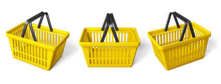 Set yellow shopping basket. isolated on white background. 3d render Imagens
