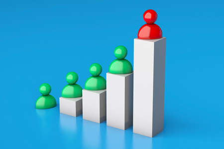 Growth chart and businessmen. Successful business with increased profits. 3d render