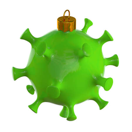 Christmas toy in the form of a virus. Coronavirus. isolated on white background. 3d render