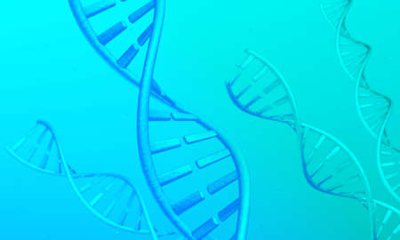 DNA spirals on a green and blue background. 3d render