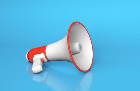 Red megaphone loudspeaker on a blue background. 3d render