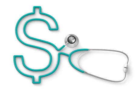 Stethoscope in the shape of a dollar sign, expensive insurance concept. isolated on white background. 3d render