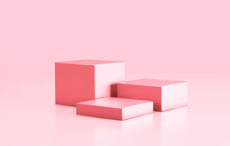 Empty podium, product shelf template. Pink color cubes and background. 3d render