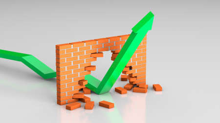 The arrow breaks through the barrier. The growth chart hammered the brick wall. 3d render Фото со стока