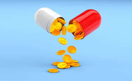 The capsule pill is opened in half and golden dollar coins are poured out on a blue background. Concept of profitable medicine, expensive health insurance and treatment. 3d render Фото со стока