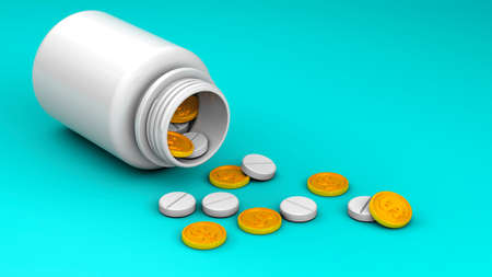 Bottle with scattered pills and gold dollar coins on a green background. The concept of expensive medicine and insurance. 3d render Stockfoto - 165102376