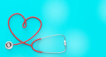 Heart shaped stethoscope on a green background. 3d render Foto de archivo - 168168497