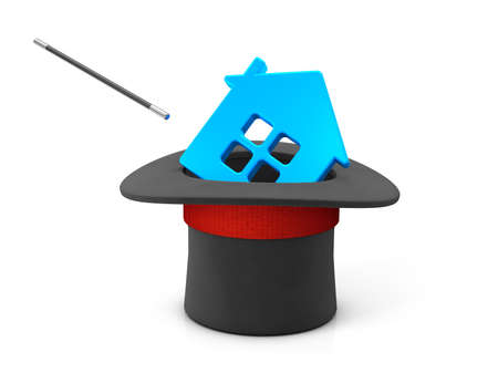 Magician hat and blue house. isolated on white background. 3d render