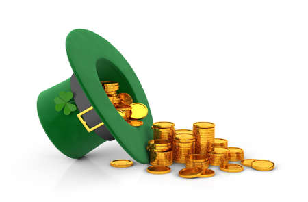 St. Patricks Day. Green Leprechaun Hat with Clover Inverted upside down and a lot of gold coins. isolated on white background. 3d render Stockfoto