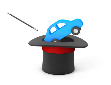 Magician hat and blue car. isolated on white background. 3d render