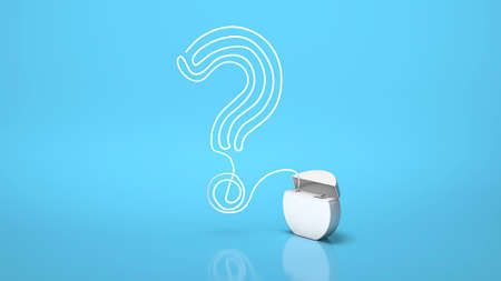 Dental floss. How to properly brush your teeth with a floss. A question mark made from dental floss on a blue. 3d render.