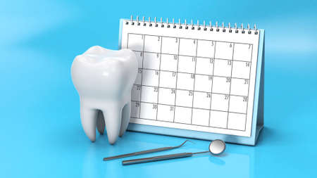 Reminder calendar for visiting the dentist. Dental appointment, check. Calendar with a tooth and a dental mirror on a blue background. 3d render