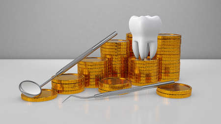 Gold coins money and a tooth with a dental mirror. Expensive dental treatment. Dental insurance. 3d render