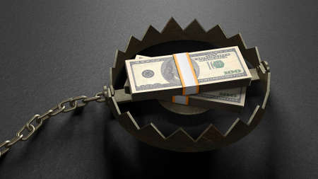 Stack of money dollars as bait inside the trap. Concept money lures you into a trap. A bear trap with a chain. 3d render