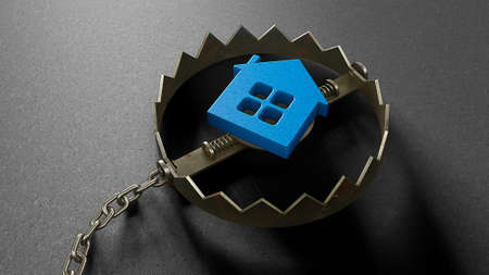 The house is like a bait inside a trap. The mortgage concept lures you into a trap. A bear trap with a chain. 3d render Stockfoto