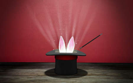 Magician hat. Rabbit ears stick out with a black top hat with a red ribbon and a magic wand. Red background with wooden floor. Light rays from the cap. 3d render.