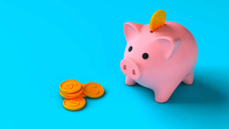 Piggy bank with coins on a blue background. Saving money. Coins fall into the piggy bank. 3d render