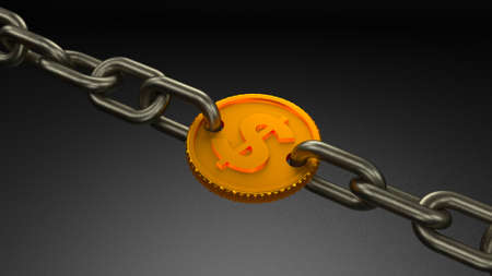 Gold coin chain link. Investments hold down money. Monetary debt is limiting. 3d render