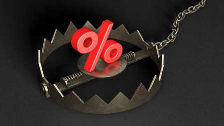 Trap with percent. Cheating on discounts. Percentage sign as bait in a bear trap. 3d render