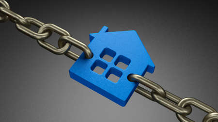 House link chain. Home as the security of life. Home loan or home mortgage. Household debt. 3d render Stockfoto