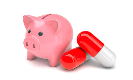 Pink piggy bank and pills in capsules on a white background. Savings concept for treatment. 3d render