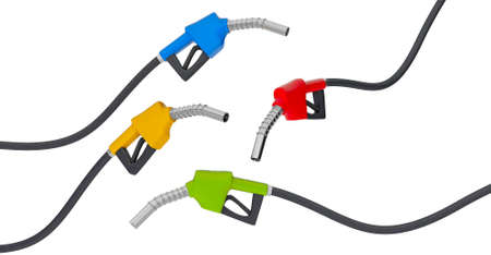 Set of fuel pumps. isolated on white background. 3d render