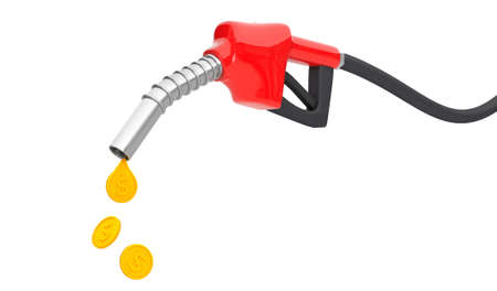 Fuel pump with a drop of gold coins. The concept of an expensive fuel price. isolated on white background. 3d render
