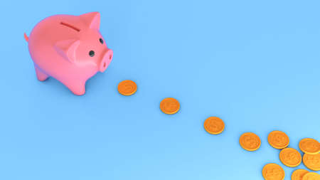 The piggy bank follows the gold coins. Money accumulation concept. 3d render