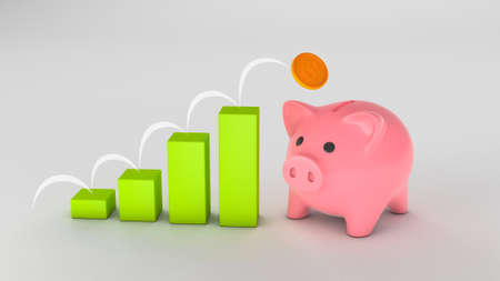 Piggy bank and savings growth graph. Bouncing coin across the columns. 3d render Фото со стока