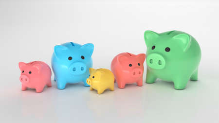 Different piggy banks. Colored piggy banks of different sizes and colors for different budget. 3d render
