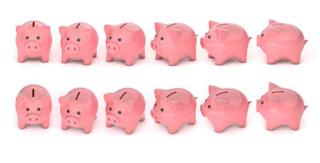 Set of piggy banks with different rotation from front to side, at different angles. isolated on white background. 3d render